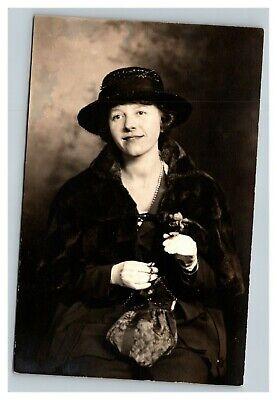 1920s Style Purses, Flapper Bags, Handbags Vintage 1920's RPPC Postcard - Studio Portrait Cute Woman Black Hat Purse $15.17 AT vintagedancer.com
