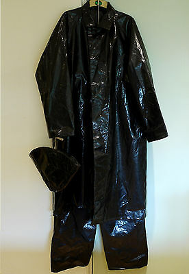 Vintage black oilskin PVC type  longcoat, sowester, hat, over trousers, Duck Dri