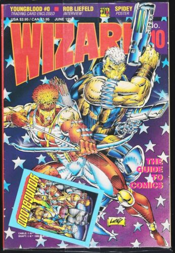 WIZARD MAGAZINE # 10 1992 COMICS GUIDE BAGGED WITH YOUNGBLOOD 0 CARD ROB LIEFELD