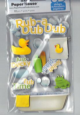 Paper House RUB A DUB DUB (12) 3-D MULTI-LAYERED Stickers scrapbooking TUB TOWEL Paper House Rub