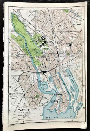 Antique Color Map : CARDIFF, WALES UK  100% AUTHENTIC Muirhead ORIGINAL 1930