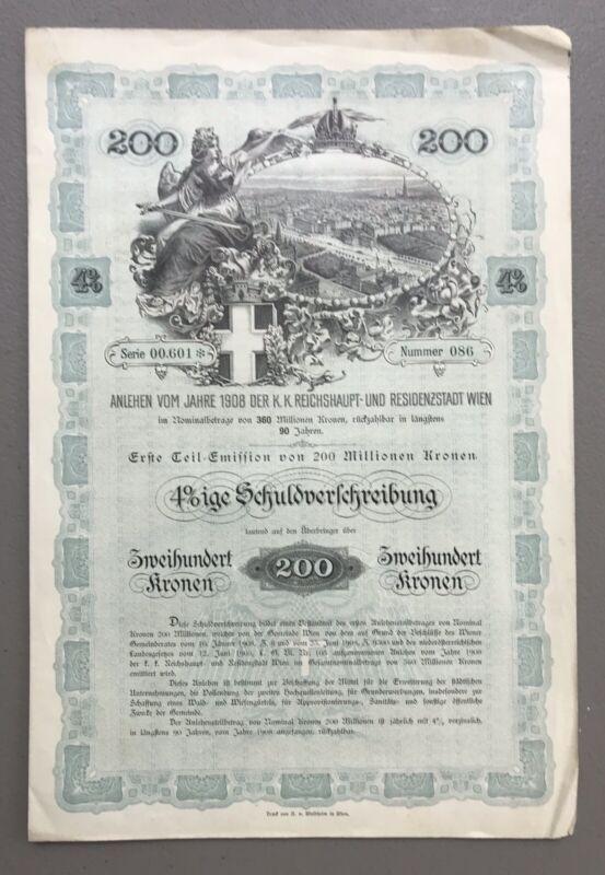 Anlehen Vom Jahre 1908 Der K. Reichshaupt-Und Residenzstadt Wien (Vienna) Bond