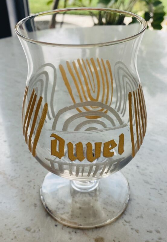 Rare Duvel Artist Collection Beer Glass by Mike Perry, US Exclusive, Gold/Silver