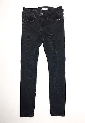 ZARA WOMAN Womens Jeans Slim Skinny Premium Denim Black Distressed 25x26 Size 6