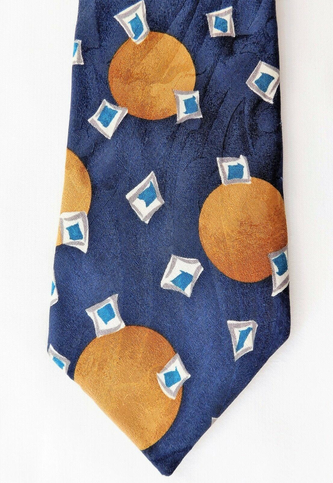 David Moss mens pure silk tie with modern abstract pattern