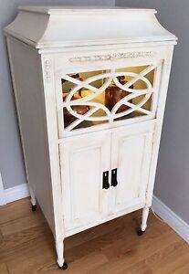 Antique wood lit cabinet