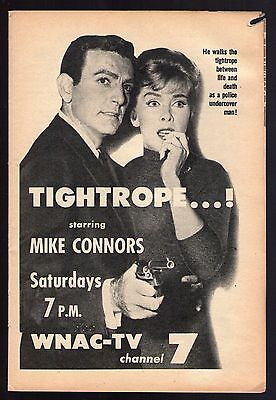 1961 Tv Ad~MIKE CONNERS in TIGHTROPE~MANNIX~WPRO~BOSTON,MASSACHUSETTS