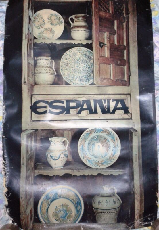 Vintage rare original travel poster Spain Espana vases dishes