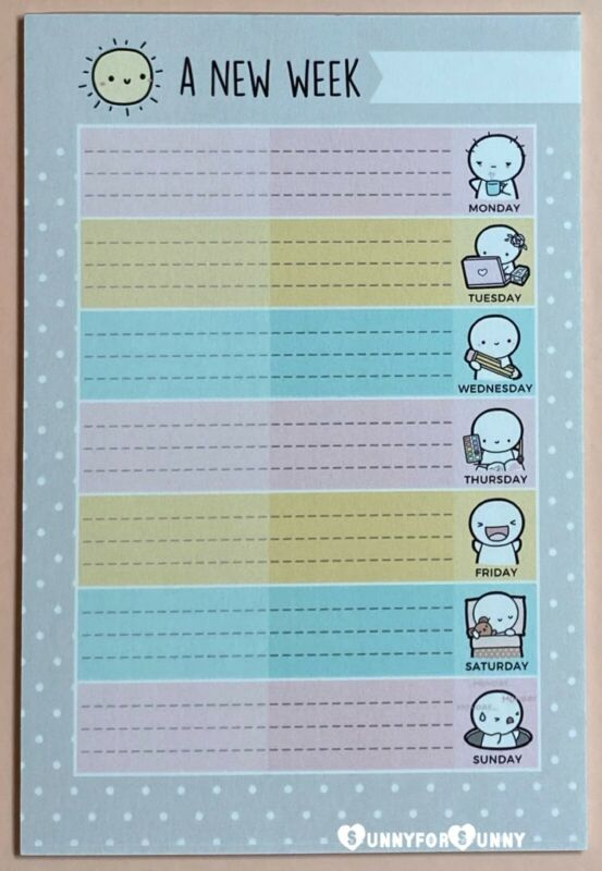 The Coffee Monsterz Co TCMC *A New Week* Emoti Weekly Planner Notepad