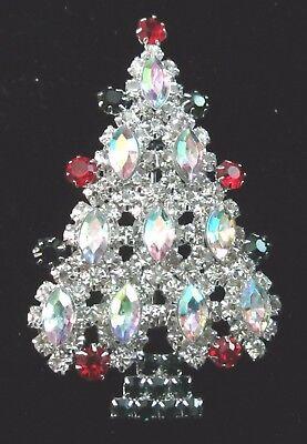 MULTI TIERED Aurora Borealis Marquise RHINESTONE CHRISTMAS TREE BROOCH PIN