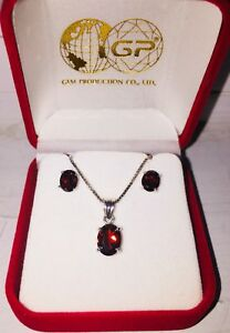 Garnet earrings and pendant