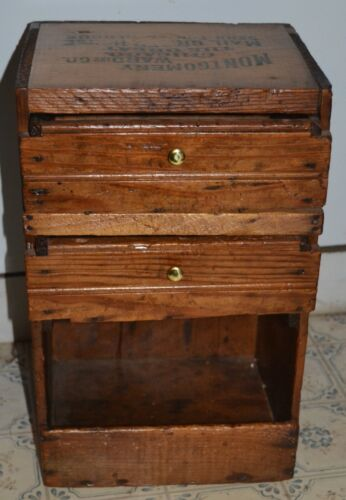 WOODEN MONTGOMERY WARD  MAIL ORDER CRATE W/ CUSTOM HOME MADE DRAWERS