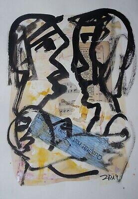 gr. Collage Zeichnung - Paar MixedMedia  -Sonja Zeltner-Müller orig.