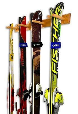 Timber Ski Wall Rack - 4 Pairs of Skis Storage - Wood Home & Garage Mount -