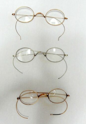 ANTIQUE SPECTACLES LOT - VINTAGE EYEGLASSES - WIRE ARMS