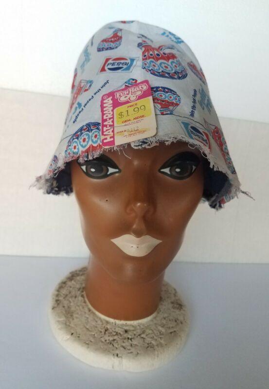 Vintage 1973 Pepsi Cola Feelin Free Bucket Sailors Gilligan Style Beach Hat NOS