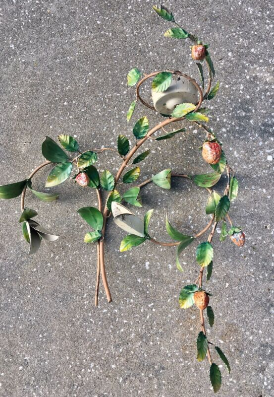 Vintage Italian Tole Wall Sconce Strawberries Leaves