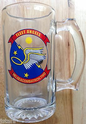 U.S. NAVY HS-2 FLEET ANGELS GLASS BEER MUG, HELSEACOMBATRON TWO, HELICOPTER MINT