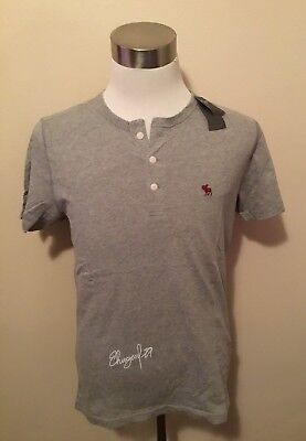 NWT Abercrombie & Fitch Men's SHORT-SLEEVE ICON HENLEY, Heather Grey, Medium