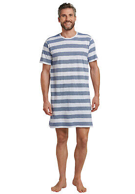 Schiesser Herren Nachthemd Sleepshirt blau weiß  Gr.48 - 58 NEU 2019 ()