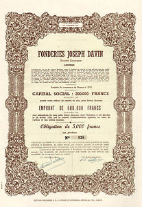 RARO-Fonderies-Joseph-Davin-SA-Andenne-obligacion-1950-Emision-100