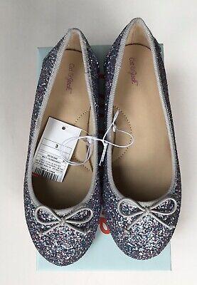 Cat & Jack Girls Size 3 Berta Shoes Ballet Flats Glitter Purple Blue NEW