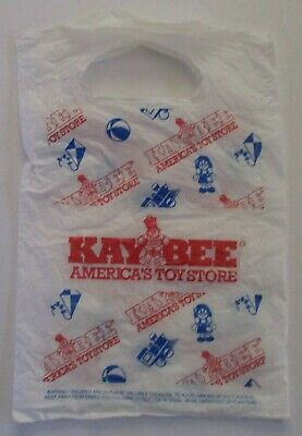 """Kay Bee Toys / K B Toy Store 12""""x8"""" Small Plastic Shopping Bag"""
