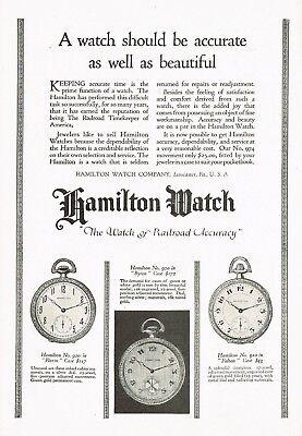 1920s Original Vintage Hamilton Byron Fulton Florin Pocket Watch Art Print Ad