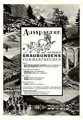 Ausspannen in Graubünden XL Reklame 1931 Schweiz Engadin Davos Prättigau Chur