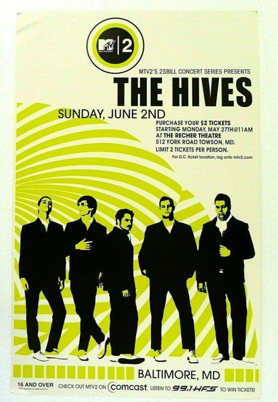 THE HIVES Concert Poster June 2, 2002 Recher Theatre Maryland JDP 15