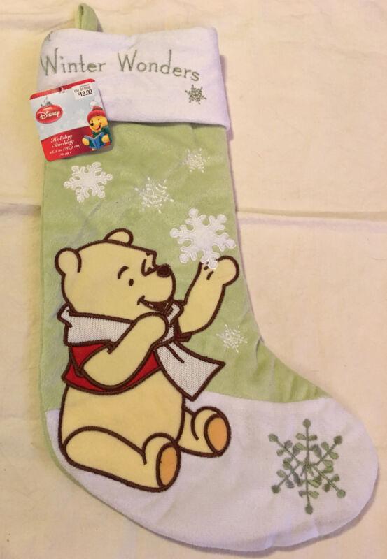 "Disney WINNIE THE POOH Christmas Stocking NEW Soft Fleece 19"""
