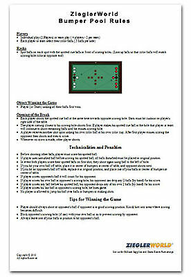 BUMPER POOL BILLIARD LAMINATED RULES & REGULATIIONS
