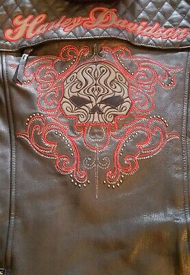 Women's Harley Davidson Willie G Scroll Leather Jacket XL