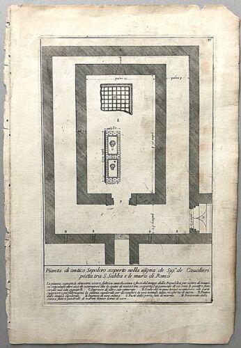 Antique 1704 Architecture Print From Bartoli GLI ANTICHI SEPOLCRI Roman Etruscan