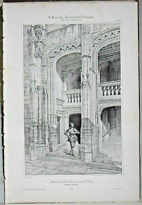 Usado, Litografía Exterior la escalera de la castillo Cuentos de Dunoy a Chateaudun segunda mano  Embacar hacia Spain