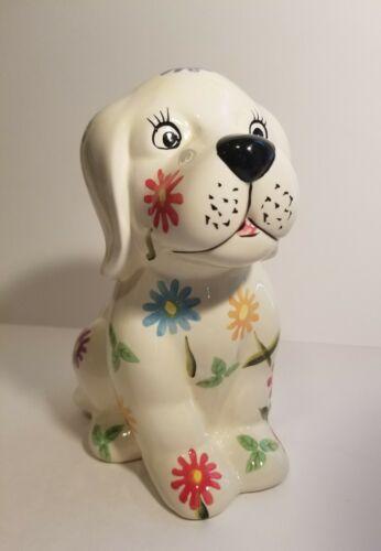 Vintage Ceramic Flower Dog Bank