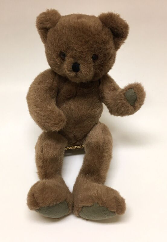 """Vintage Jointed Teddy Bear Weighted Brown Plush~14"""""""