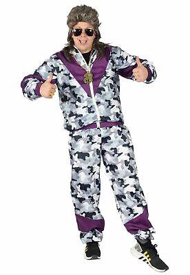 80er Jahre Kostüm für Erwachsene Trainings-Anzug Assi camouflage lila S - XXXL
