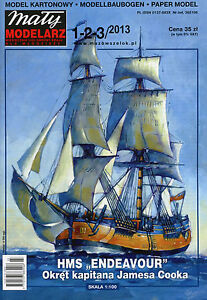 HMS-ENDEAVOUR-James-Cook-039-s-Ship-Paper-Card-Model-Scale-1-100-Maly-Modelarz