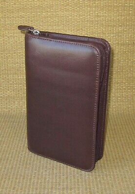 Portable Day-timer Burgundy Leather 1 Rings Plannerbinder Filofax Personal