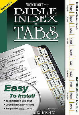 Catholic Bible Index Tabs Labels with Canons - Slim Gold Complete Set of Markers