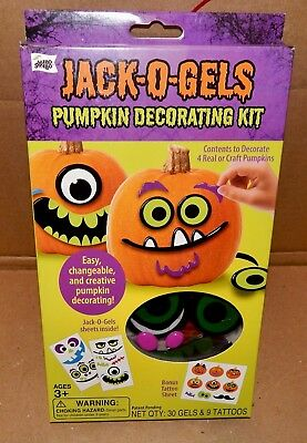 Halloween Jack-O-Gels Pumpkin Decorating Kit Does 4 Pumpkins Easy Tattoos 172U (Pumpkin Tattoos)