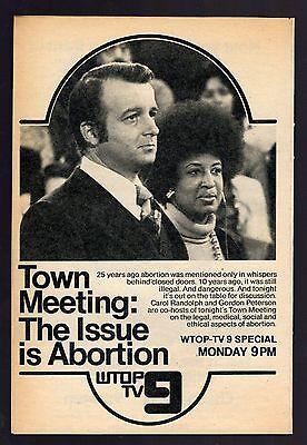 1974 Wtop Tv News Ad Carol Randolph Gordon Peterson Abortion Washington D C