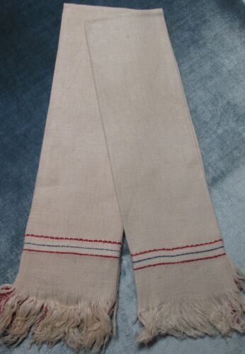 Antique Pr French Heavy Ivory Linen Fringed Towels Red & Navy Stripes Unused
