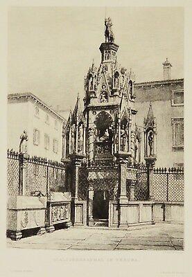 Radierung 19. Jh. Scaligergrabmal in Verona Italien 38 x 28 cm