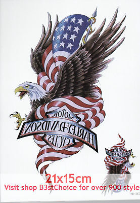 - UK 21X15CM American flag eagle Half Sleeve Temporary Tattoo ARM BACK