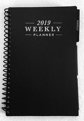 2019 Weekly Monthly Spiral Planner Calendar Organizer Agenda Black 5 X 8