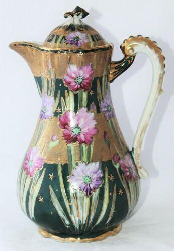 Antique Porcelain Chocolate Pot Gold Moriage Green Pink Purple Floral Pitcher