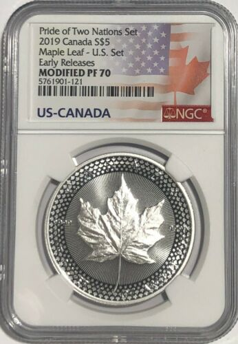 2019 $5 SILVER CANADIAN MODIFIED MAPLE LEAF NGC PF70 ER PRIDE OF TWO NATIONS