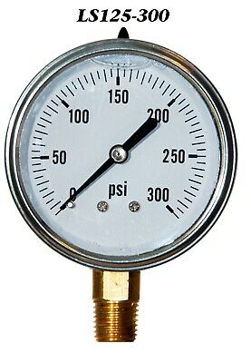 New Hydraulic Liquid Filled Pressure Gauge 0-300 Psi 2.5 Face 14 Lm